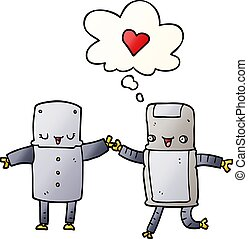 cartoon robots in love and thought bubble in smooth gradient style