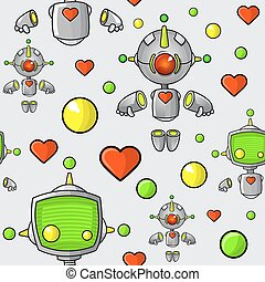 Cartoon Robots Seamless Pattern