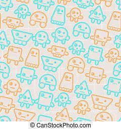 Cartoon robots seamless pattern.