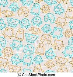 Cartoon robots seamless pattern.