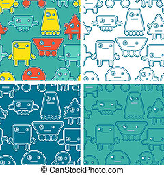 Cartoon robots seamless patterns.