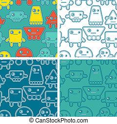 Cartoon robots seamless patterns.