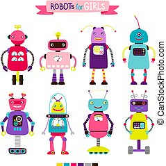 Cartoon robots set for girls