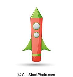 Cartoon rocket 3D vector illustration