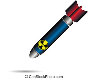 Cartoon rocket bomb on white