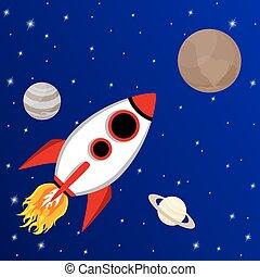 Cartoon rocket flying to Pluto