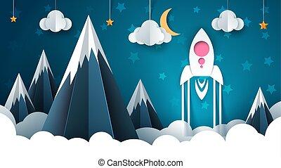 Cartoon rocket illustration. Paper mountain landscape.