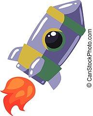 Cartoon rocket in open cosmos vector illustration