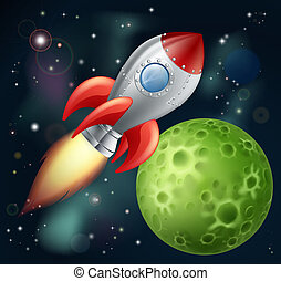 Illustration of a cartoon rocket spaceship with space background and planets and stars