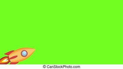 Cartoon rocket ship flying up on green screen background. Looped animation,. 2d Seamless motion animated footage, Cartoon shuttle start up, rocket launch, 4K,HD,SD resolution.