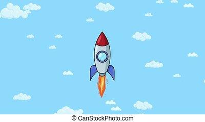 Cartoon rocket ship flying up through cloudy sky. Flat...