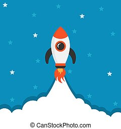 Cartoon rocket space ship icon in flat style. Spaceship vector illustration on white isolated background. Rocket start business concept.