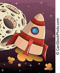 cartoon rocket spaceship with space background