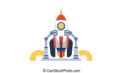 Cartoon rocket start. Space shuttle launch. 2d rocketship startup animation. Business technology concept. Looped video with alpha channel.