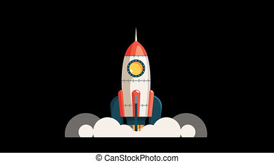 Cartoon rocket starts into space. Startup spaceship. Looped...