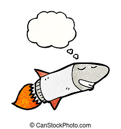 cartoon rocket with thought bubble