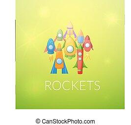 Cartoon rockets 3D vector illustration set