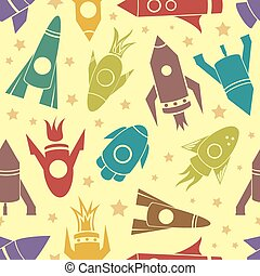 Cartoon rockets vector seamless pattern