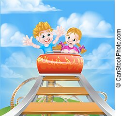 Cartoon Roller Coaster - Cartoon boy and girl kids riding on...