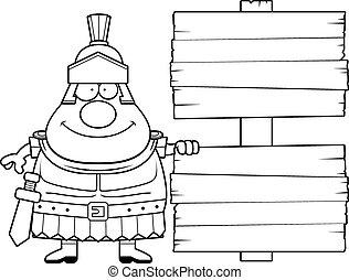 Cartoon Roman Centurion Sign - A cartoon illustration of a...