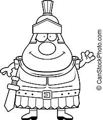 Cartoon Roman Centurion Waving - A cartoon illustration of a...