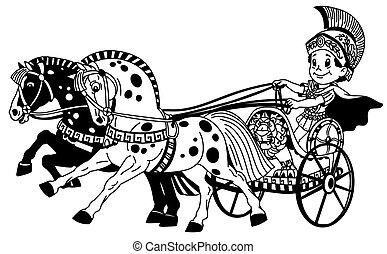 cartoon roman chariot black white