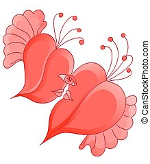 Cartoon romantic couple in love with abstract heart shaped. Can use for event decoration, weddings, stickers, illustrations, as decorative element.