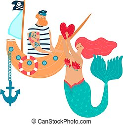 Cartoon Romantic encounter of a mermaid and pirat who gives his heart isolated on white vector illustration Valentine day
