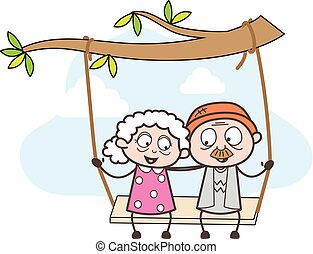 Cartoon Romantic Old Age People Swing Together in Park...