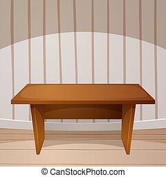 Cartoon room. Wooden table. vector illustration