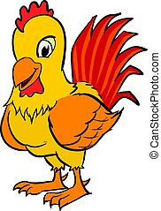 Cartoon rooster clipart - vector illustration