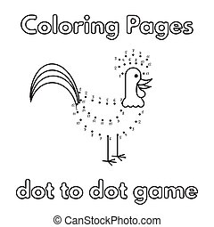 Cartoon Rooster Coloring Book - Cartoon rooster dot to dot...