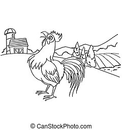 Cartoon rooster coloring page vector illustration