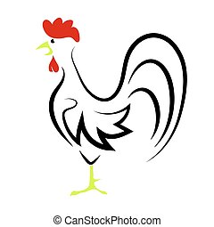 Rooster - Cartoon Rooster Isolated on White Background for...
