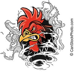 Cartoon Rooster Mascot Ripping Out