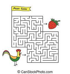 Cartoon Rooster Maze Game - Cartoon rooster maze game. Funny...
