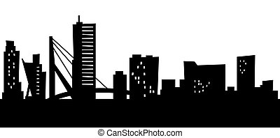 Cartoon Rotterdam - Cartoon skyline silhouette of the city...