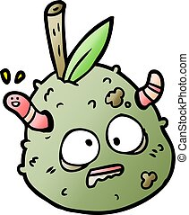 cartoon rotting old pear with worm