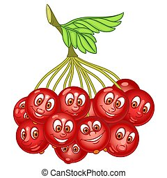 Cartoon Rowanberry Fruit - Cartoon Rowanberry. Rowan tree...