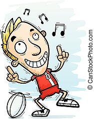Cartoon Rugby Player Dancing