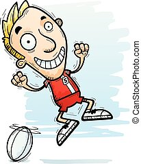 Cartoon Rugby Player Jumping