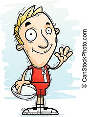 Cartoon Rugby Player Waving