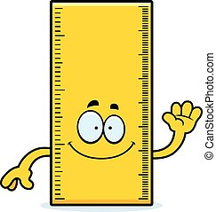 Cartoon Ruler Waving - A cartoon illustration of a ruler...