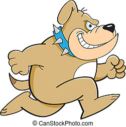 Cartoon Running Bulldog