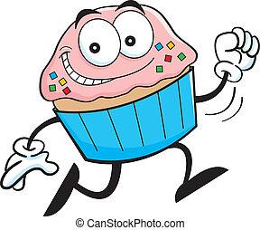 Cartoon running cupcake