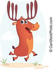 Cartoon running deer illustration.