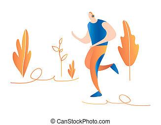 Cartoon running men. Male sprinter. running in nature
