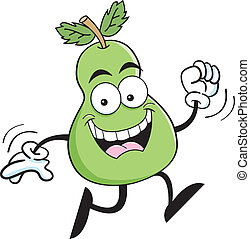 Cartoon running pear