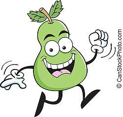 Cartoon running pear