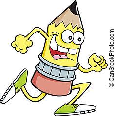 Cartoon running pencil